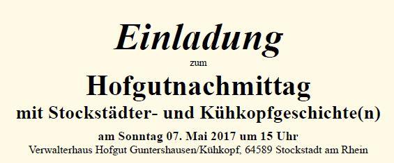 Hofgutnachmittag mit Stockstädter- und Kühkopfgeschichte(n) am 7. Mai 2017